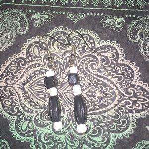 Black and white glass beaded earrings (3/$10)